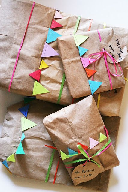 Brown paper packaging and bunting