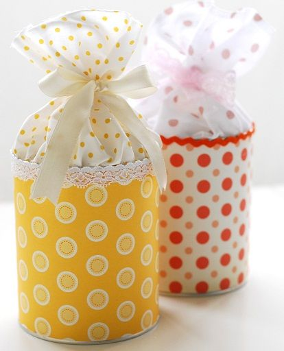 Decorated Tin ~ Really cute way to upcycle/decorate soup cans for gift giving.